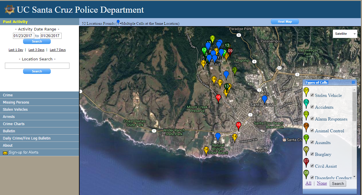 Interactive crime log and map