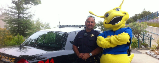UCSC police officer and Sammy the Slug