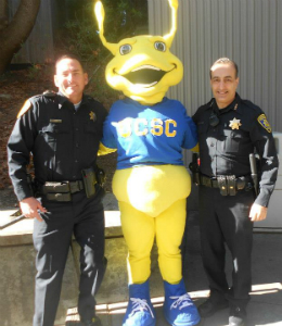 Sammy the Slug and UCSCPD officers